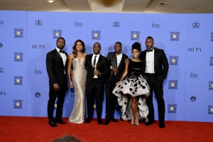 "For BEST MOTION PICTURE – DRAMA, the Golden Globe is awarded to ""Moonlight,"" directed by Barry Jenkins. Trevante Rhodes, Naomie Harris, Barry Jenkins, Ashton Sanders, Jangle Monáe, and Mahershala Ali pose with the award backstage in the press room at the 74th Annual Golden Globe Awards at the Beverly Hilton in Beverly Hills, CA on Sunday, January 8, 2017."