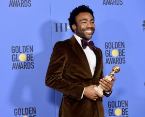 "After winning the category of BEST PERFORMANCE BY AN ACTOR IN A TELEVISION SERIES – COMEDY OR MUSICAL for his role in ""Atlanta,"" actor Donald Glover poses backstage in the press room with his Golden Globe Award at the 74th Annual Golden Globe Awards at the Beverly Hilton in Beverly Hills, CA on Sunday, January 8, 2017."