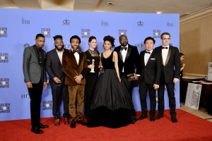 "For BEST TELEVISION SERIES – COMEDY OR MUSICAL, the Golden Globe is awarded to ""Atlanta"" (FX). Keith Stanfield, Donald Glover, Zadie Beetz, and Brian Tyree Henry with cast and crew pose with the award backstage in the press room at the 74th Annual Golden Globe Awards at the Beverly Hilton in Beverly Hills, CA on Sunday, January 8, 2017."