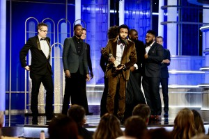 "Accepting the Golden Globe for BEST TELEVISION SERIES – COMEDY OR MUSICAL for ""Atlanta"" (FX) is Donald Glover at the 74th Annual Golden Globe Awards at the Beverly Hilton in Beverly Hills, CA on Sunday, January 8, 2017."