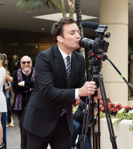 Jimmy Fallon playing around during the red carpet rollout for the upcoming 74th Annual Golden Globe Awards. Photo: Magnus Sundholm for the HFPA.
